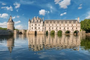 Chenonceau castle, over the Cher river, Loire Valley,France.