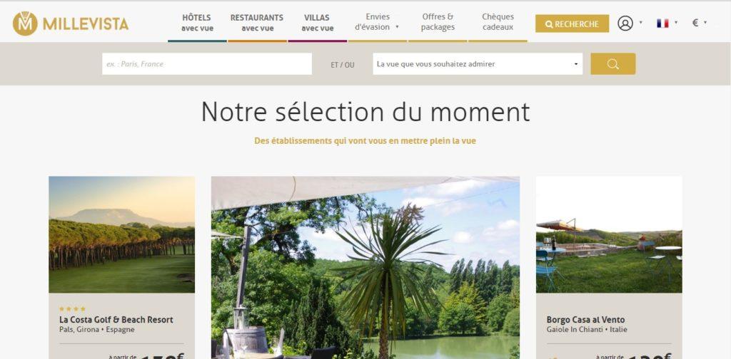 Millevista est un site internet au concept unique. Il propose aux voyageurs une collection d'hôtels, de restaurants et de villas offrant un panorama d'exception : sur la mer, un lac ou une rivière, sur la cime des montagnes, sur des monuments d'exception… des possibilités très variées pour autant de moments d'évasion et de détente.